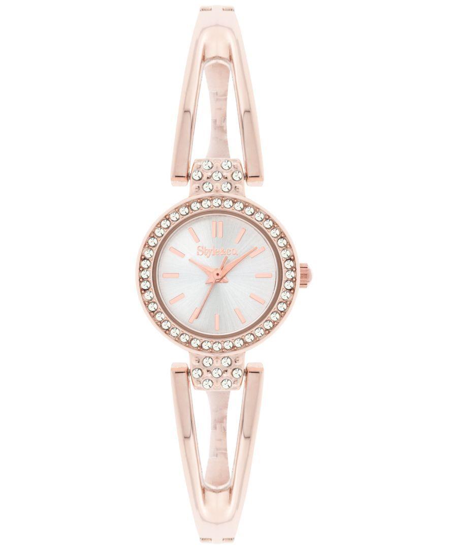 Styleuco watch womenus rose goldtone open bangle bracelet mm