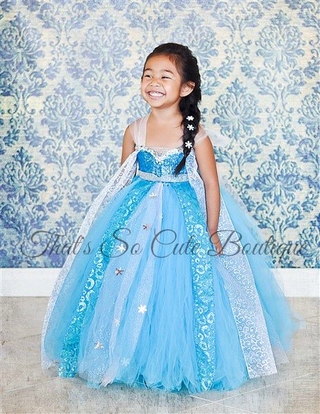 Queen Elsa Tutu Dress Costume Frozen Blue Turquoise Snowflake Ana Snow