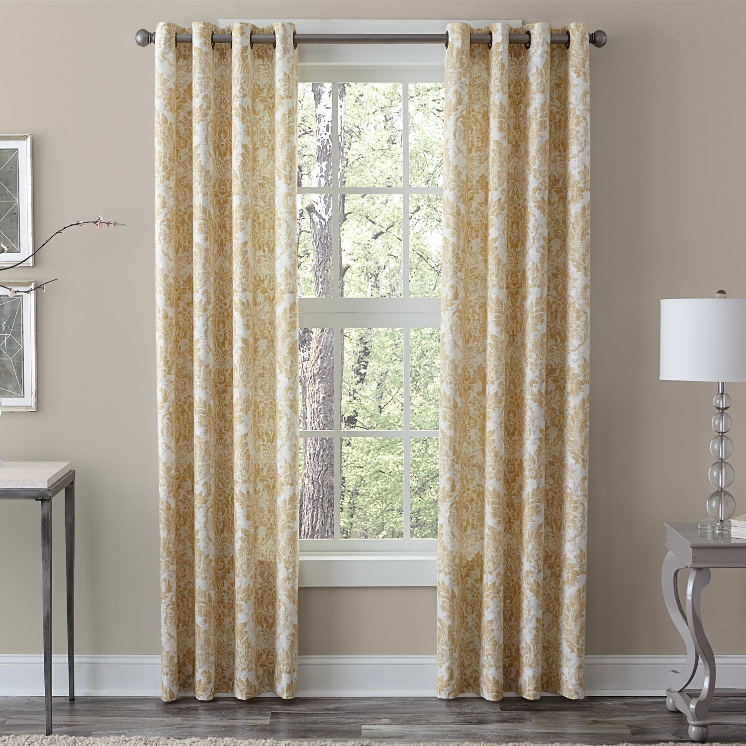 Veratex Linen Medallion Single Window Curtain Panel 120 In Grey As Is Item Panel Curtains Drapes Curtains
