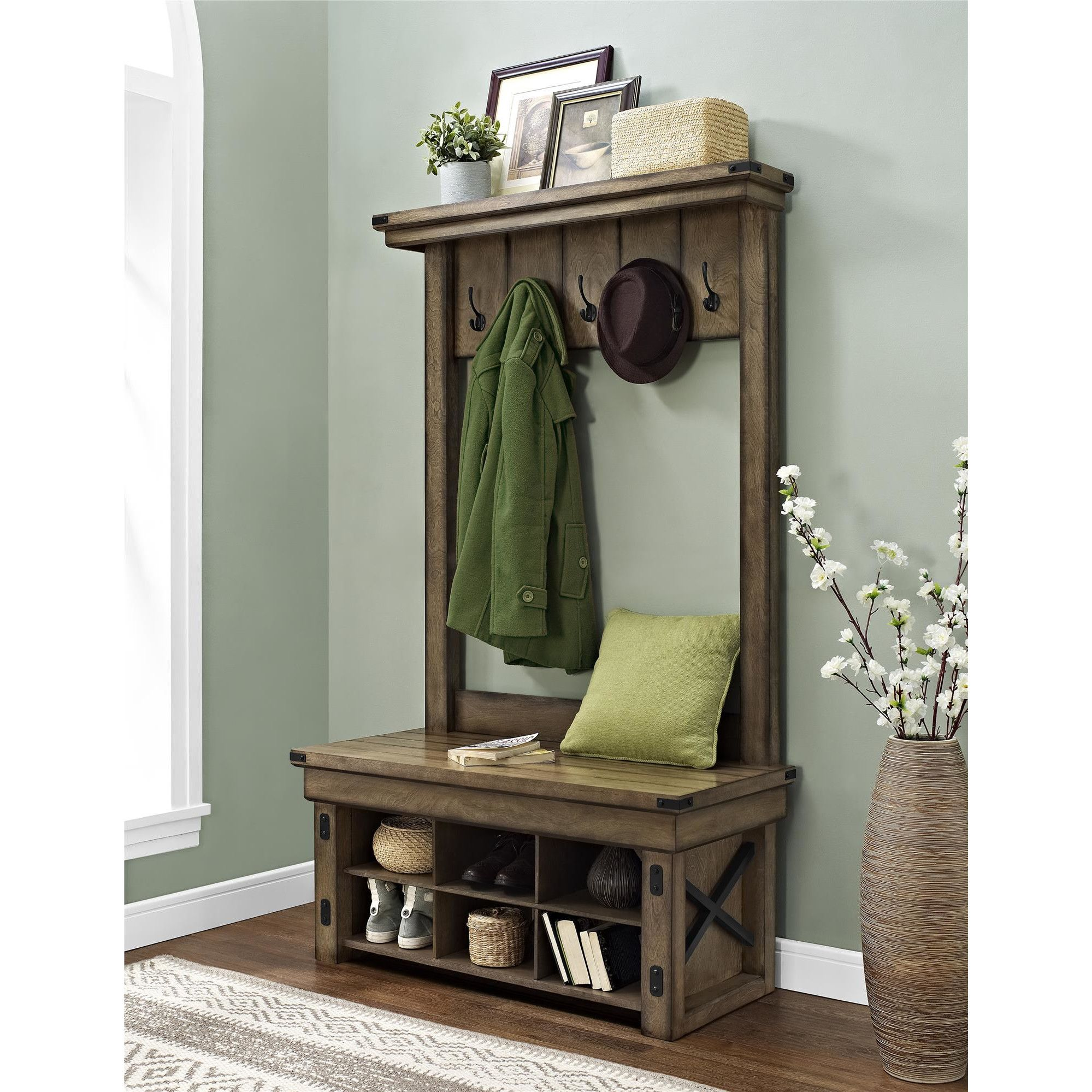 August grove irwin wood veneer entryway hall tree with storage bench