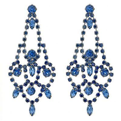 Red Herring Blue diamante crystal chandelier earring-   Debenhams ...