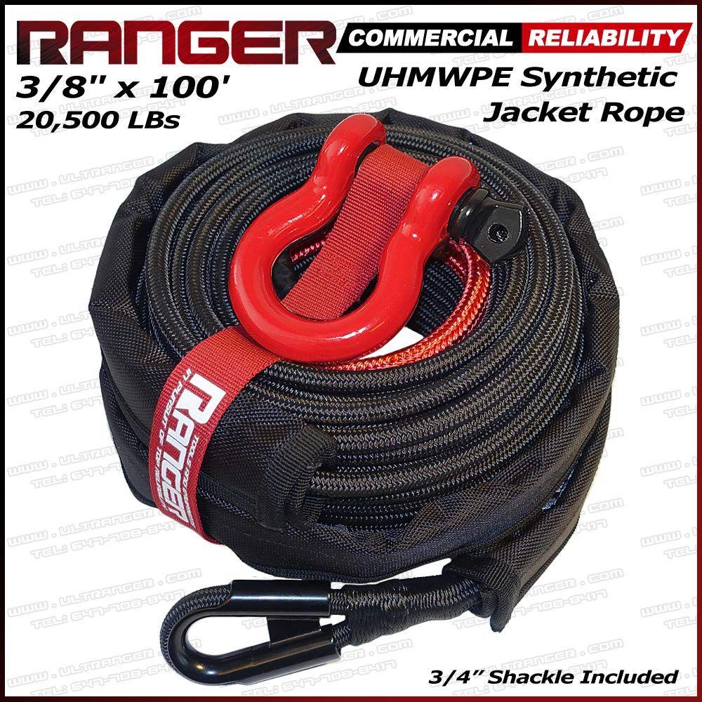 "Ranger 3/8"" x 100' UHMWPE Jacket Synthetic Winch Rope 20"
