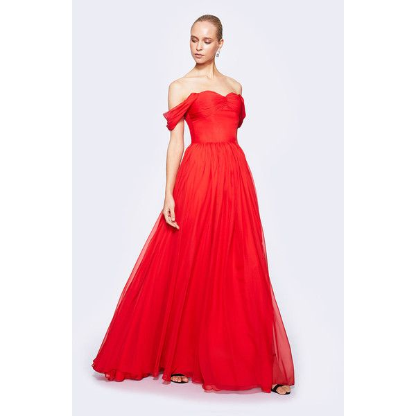 Fame&Partners Long Pleated Red Melissa Dress ($202) ❤ liked on Polyvore featuring dresses, gowns, red carpet gowns, plus size homecoming dresses, red maxi dress, plus size maxi dresses and plus size formal gowns