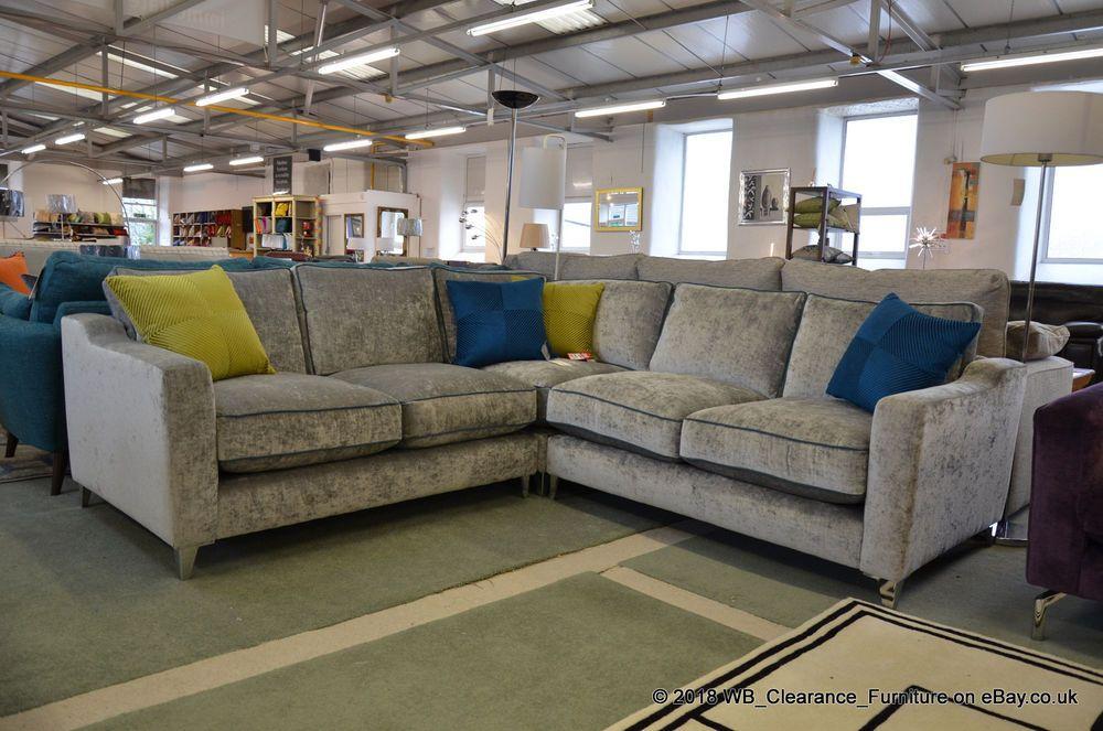 Velvet Corner Sofa Teal Piping Beige
