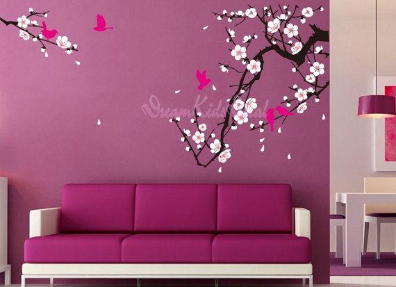 Fleur de cerisier mur autocollant oiseaux par for Appliqu mural autocollant
