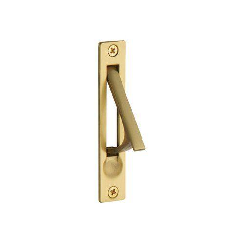 Baldwin 0465 3 4 Inch X 3 7 8 Inch Solid Brass Edge Pull Satin Brass Baldwin With Images Satin Brass Solid Brass Sliding Door Handles