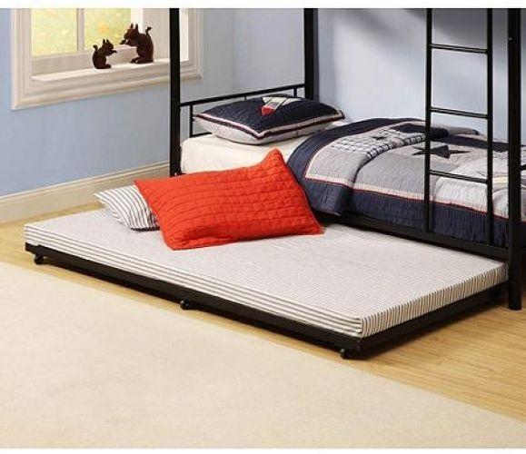 Black Metal Trundle Bed Portable Indoor Guests Twin Sleep Sleeping 250lb Max Trundle Bed Trundle Bed Frame Twin Trundle Bed