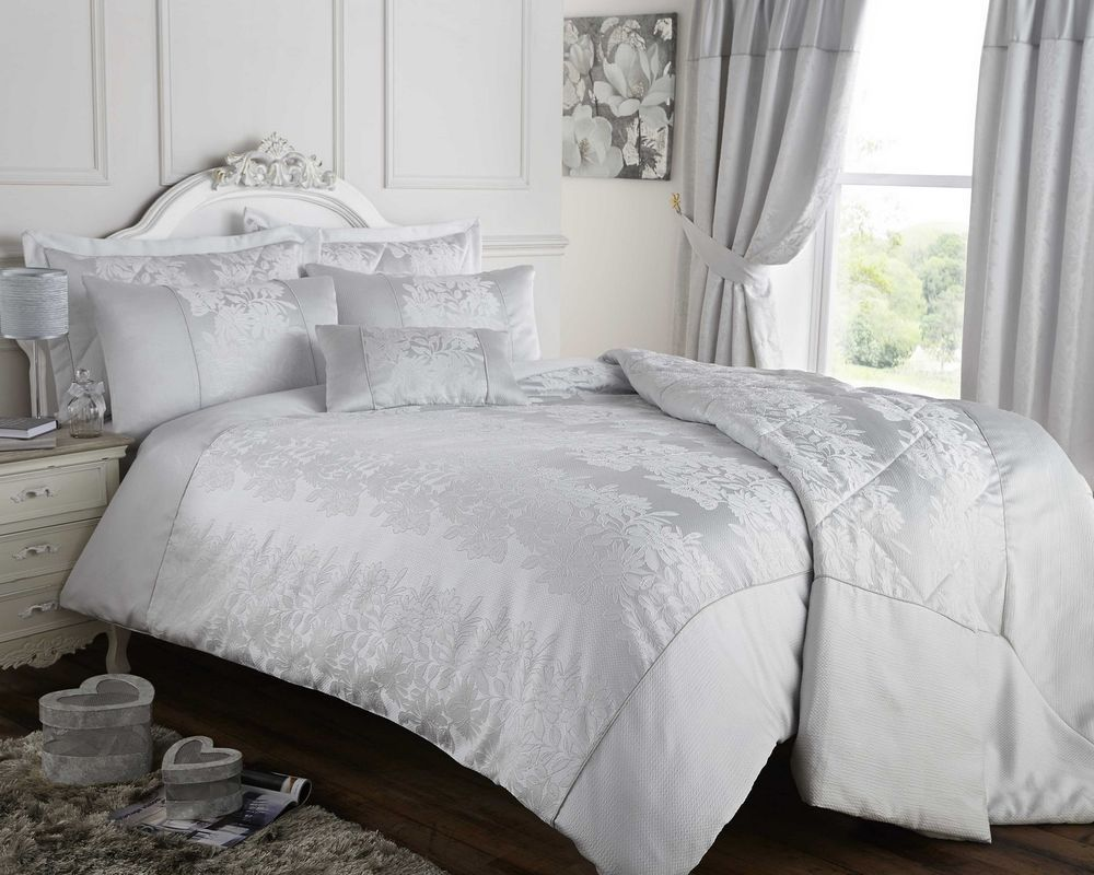 Home amp garden gt bedding gt comforters amp sets gt see more 7 pc faux fur - Silver Grey Duvet Cover Bedspread Or Curtains Jacquard Bedding Bed Set Luxury