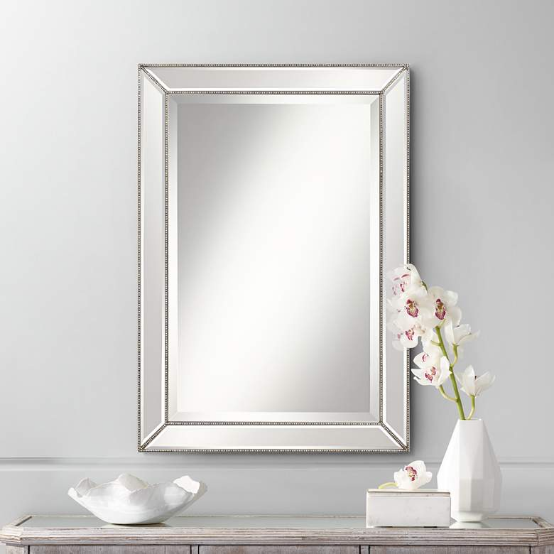 Roseau Silver Pewter 24 X 34 Beaded Wall Mirror In 2020 Modern
