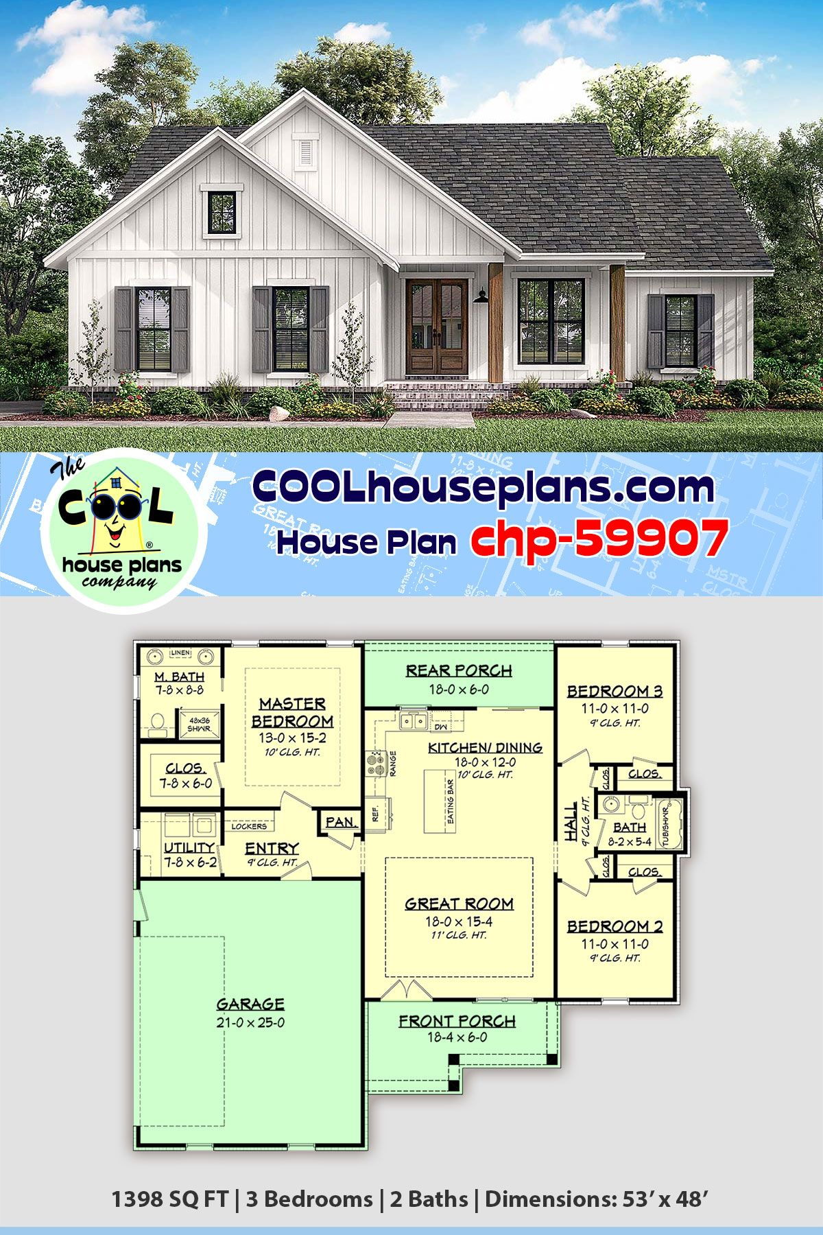 Traditional Style House Plan 51997 With 3 Bed 2 Bath 2 Car Garage House Plans Farmhouse Small Country Homes Country House Plans
