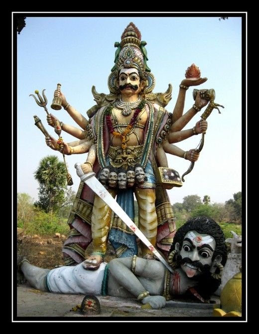 Story of the Yoga Warrior Poses.  This image is of Virabhadra (or Veerabhadra) ready to cut off Daksha's head