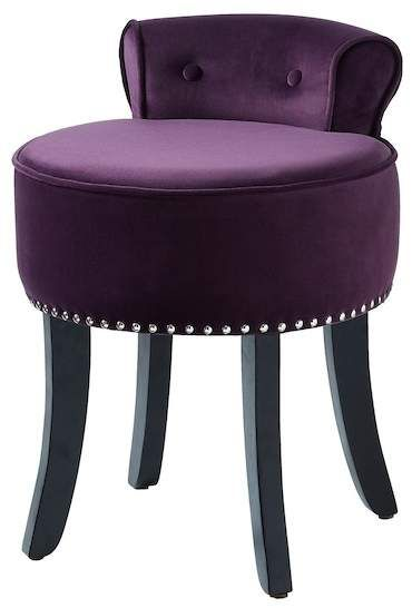 Inspired Home Odion Velvet Contemporary Nailhead Trim Rolled Back Vanity Stool Purple