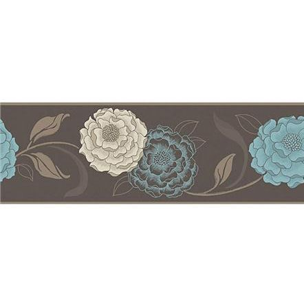 Esme chocolate and teal peel and stick wall border wall for Teal peel and stick wallpaper