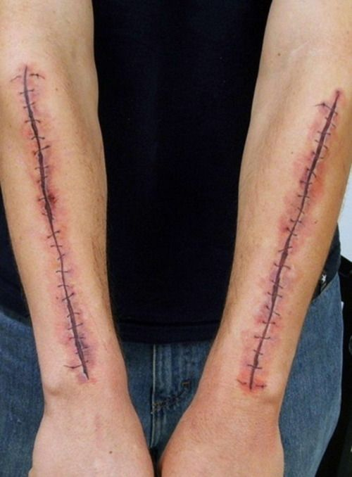 Staples in skin tattoo google search tattoos for Flesh wound tattoo