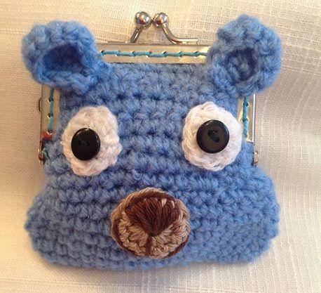 Monedero tejido a #ganchillo #Crochet coin purse  #oso #osito