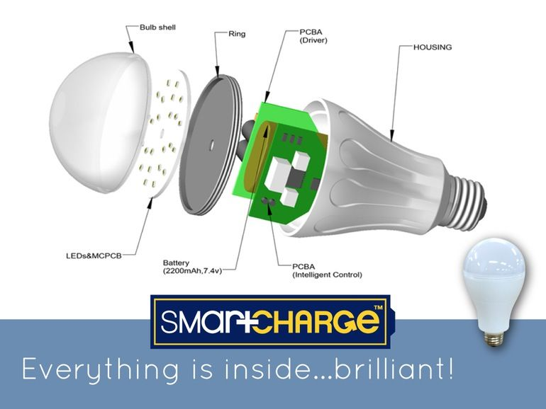 Exploded view of the SmartCharge LED lightbulb | Light | Pinterest ...