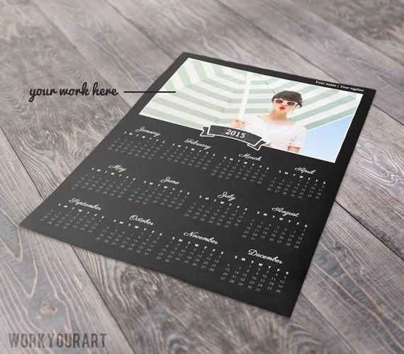 Chalkboard style 2015 calendar template for Photoshop #template