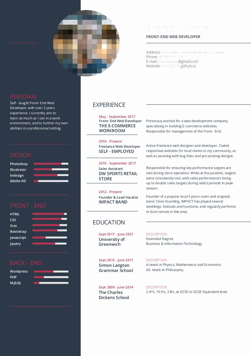 23 Front End Developer Resume Example In 2020 Resume Examples