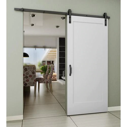 Frameport 36 In X 84 In White Prefinished 1 Panel Wood Pine Barn Door Hardware Included Lowes Com In 2020 Barn Style Sliding Doors Indoor Barn Doors Barn Doors Sliding