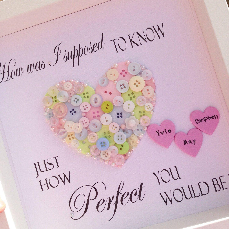Personalised Button Heart ~Newborn Gift ~Christening Gift ~Girls ...