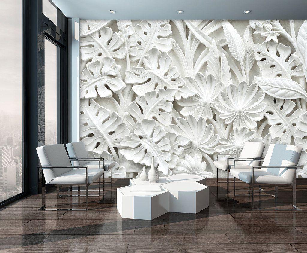 vlies fototapeten fototapete tapete foto 3d abstraktion weiss blumen 10052 dekorationshop. Black Bedroom Furniture Sets. Home Design Ideas