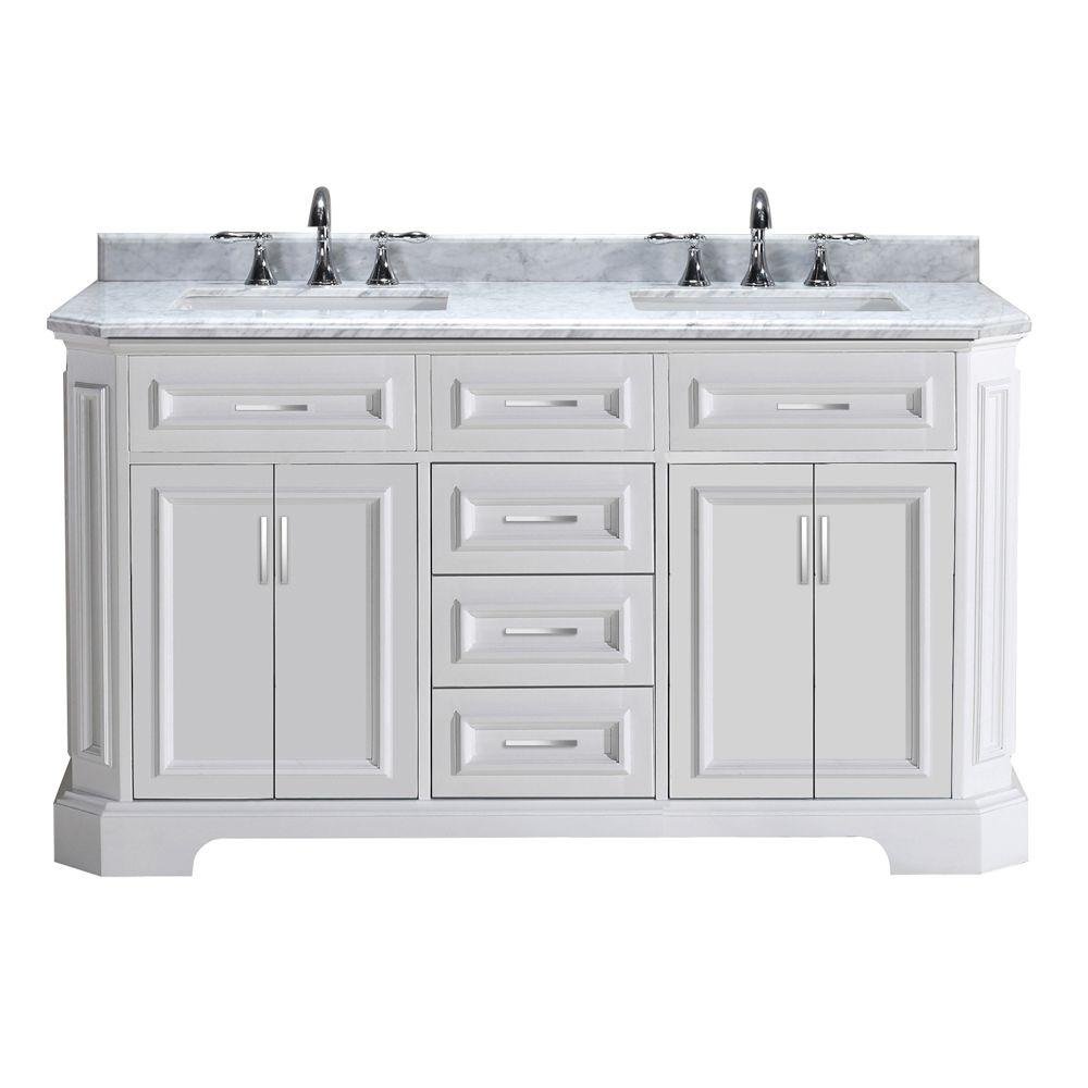 Pegasus Bristol 60 In Vanity In White With Marble Vanity Top In