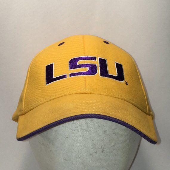 b73747900b66e Vintage LSU Tigers Hat NCAA Football College Sports Dad Cap Louisiana State  University Gold Purple Baseball