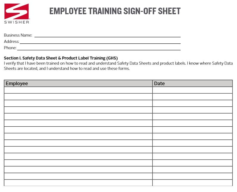 Training Sign Off Sheet Template Excel Sign Off Templates