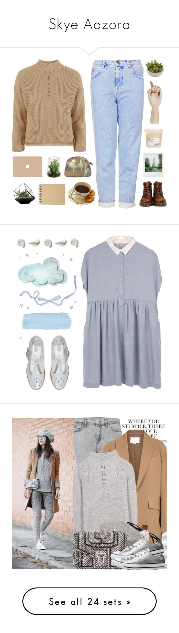 """Skye Aozora"" by karabreslin ❤ liked on Polyvore featuring Topshop, Dr. Martens, Polaroid, Davines, HAY, 3M, Muji, dress, lavender and dresses"