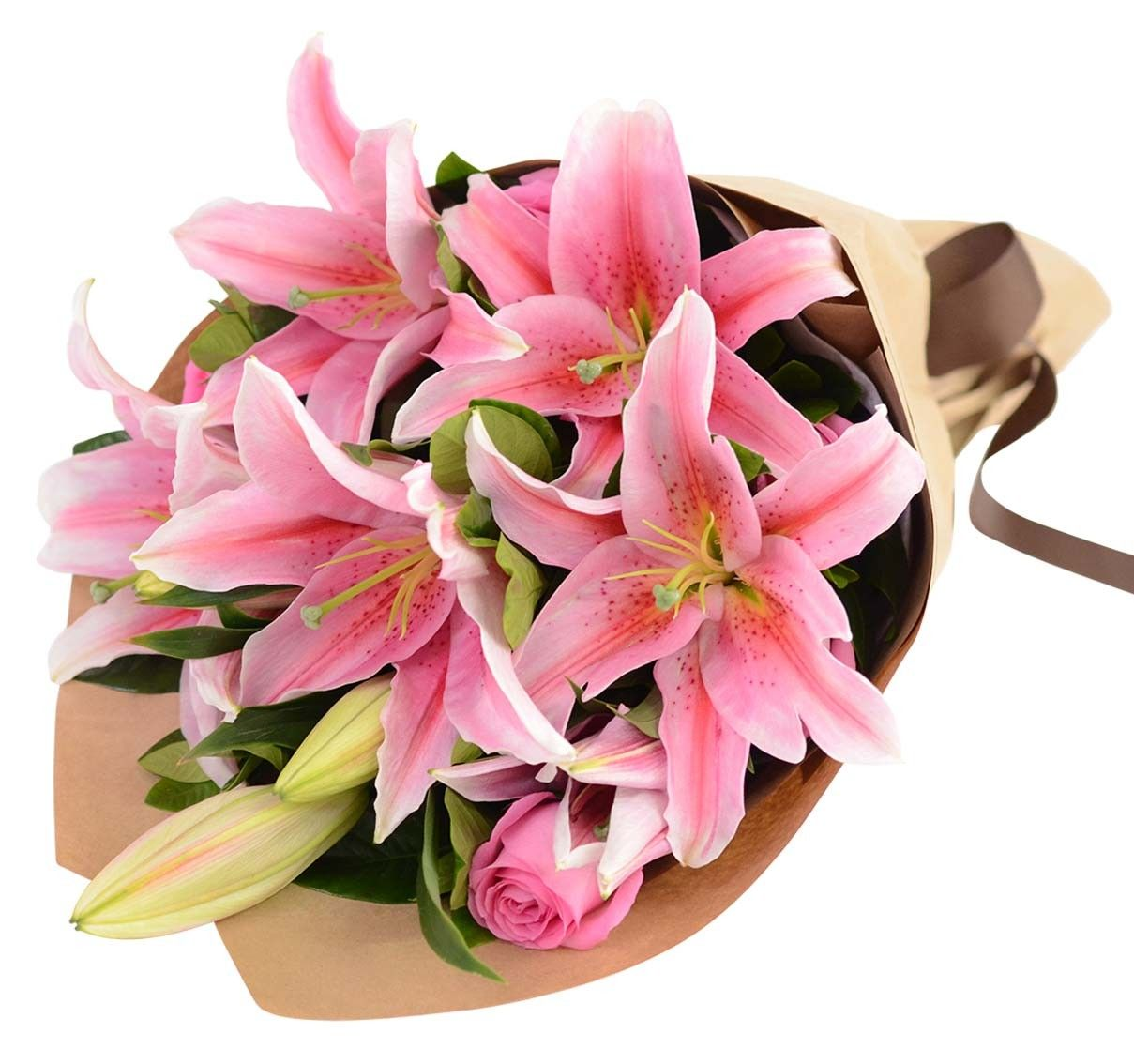 Pink Lilies & Roses Bouquet Oriental lily, Online flower