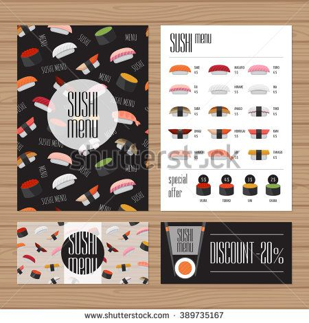 Sushi Menu Design A Size And Flyer Layout Template Japanese