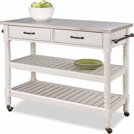 Home Styles Savannah White Kitchen Cart Walmart Com For