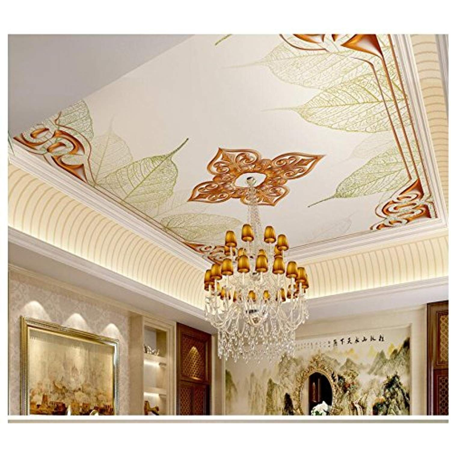 3d Wallpaper Mural Ceiling Silk Cloth A 3d Three Dimensional Golden Border Embossed Leaves Ceiling Ceiling Walla 3d Wallpaper Mural House Mural Mural Ceiling 3d wallpaper designs for ceiling