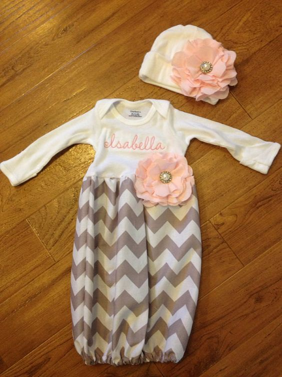 Baby girl take-me-home set in grey chevron and baby pink diva sack ...