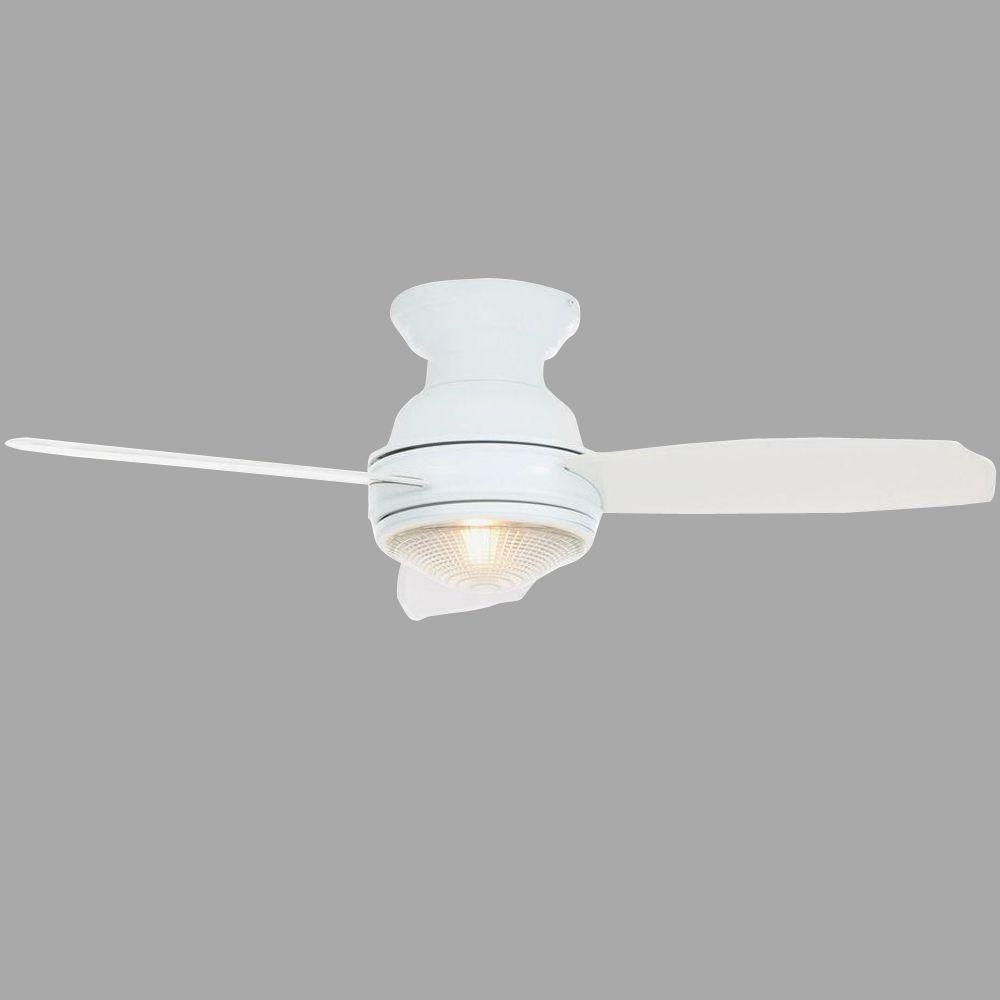 Indoor White Ceiling Fan With Light Kit And Remote Control