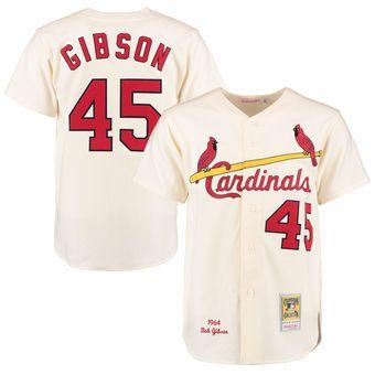 62fdcdb8 Men's St. Louis Cardinals 1964 Bob Gibson Mitchell & Ness Cream ...