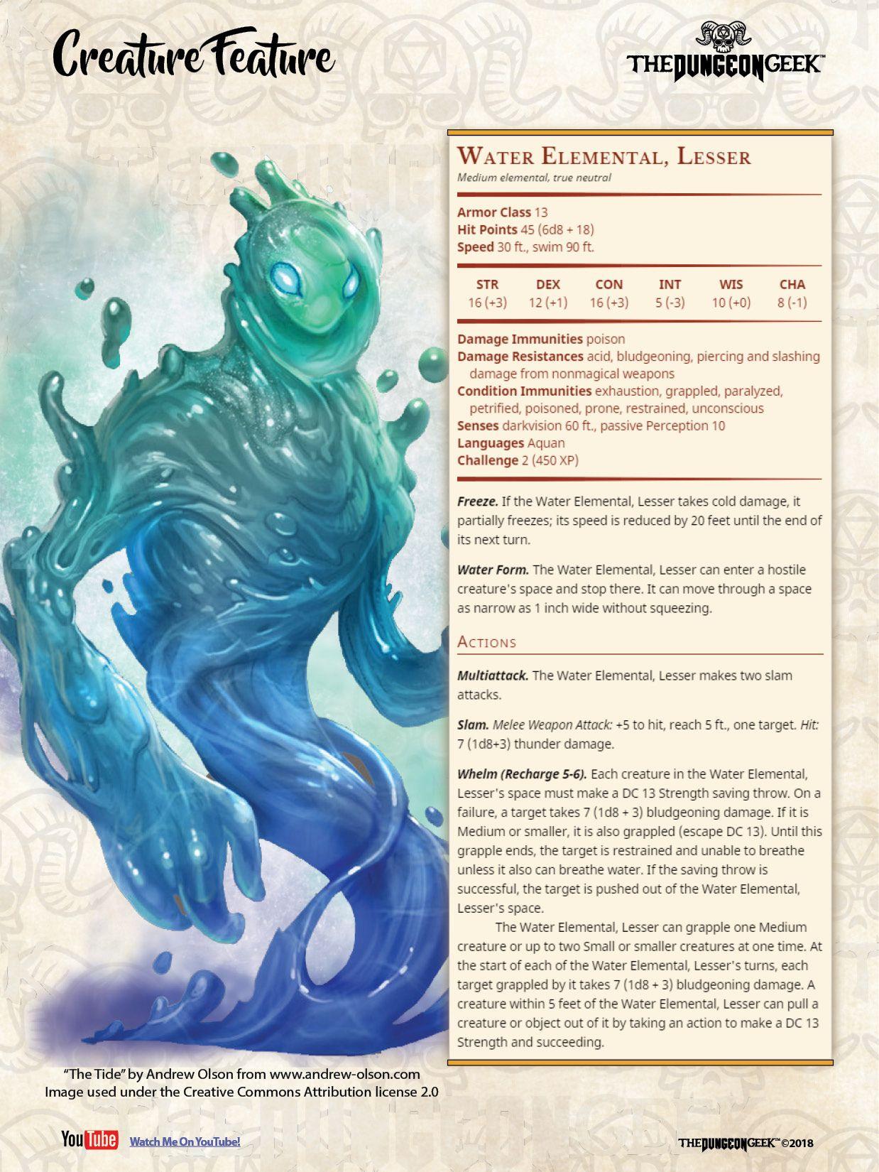 D&D 5e Creature Feature – Lesser Water Elemental | D&d | Dnd
