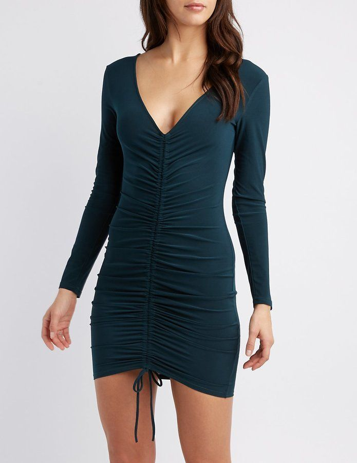 0d98333e42 Charlotte Russe Ruched Tie-Front Bodycon Dress