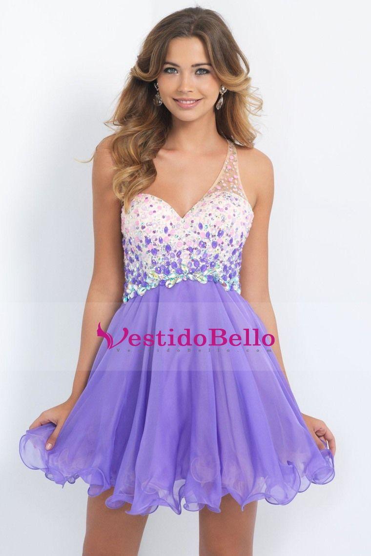 2015 de un hombro Vestidos de Fiesta A / Princesa tul y gasa con ...