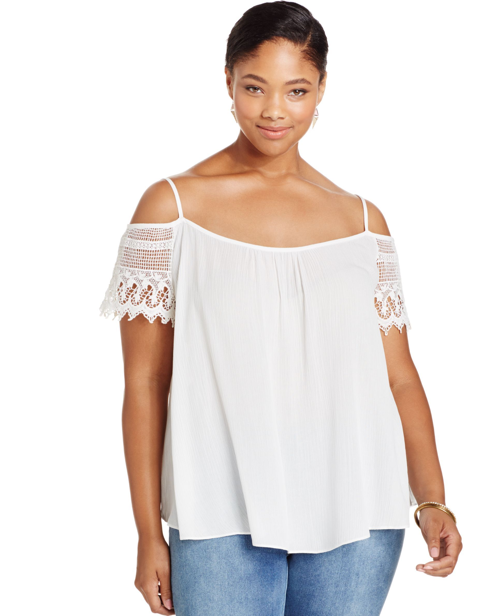 eafedca0101d3f Ing Plus Size Lace Cold-Shoulder Top
