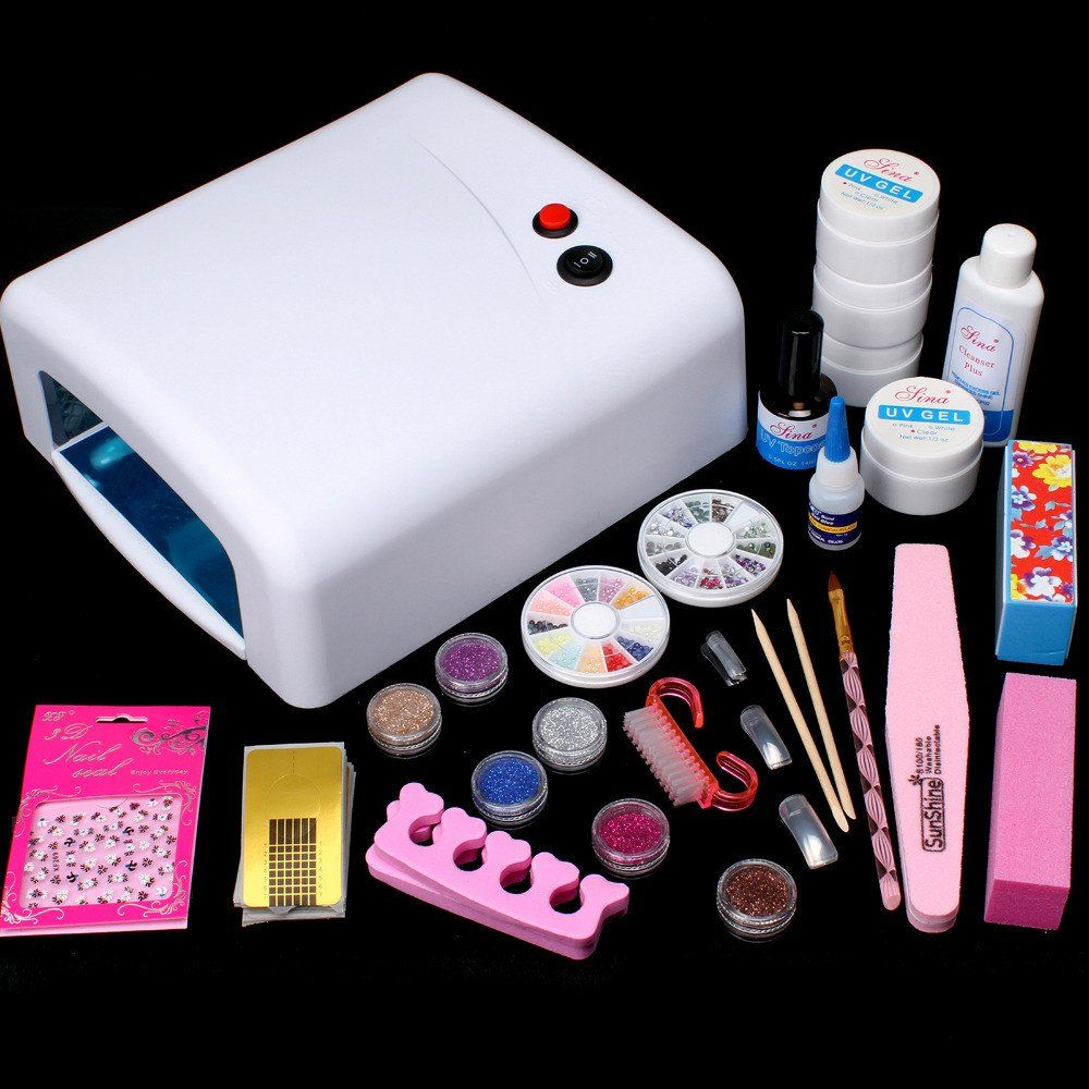 Pro 36W UV Dryer Lamp Glitter Powder French Nail Art Tips Gel Tools DIY Set #59