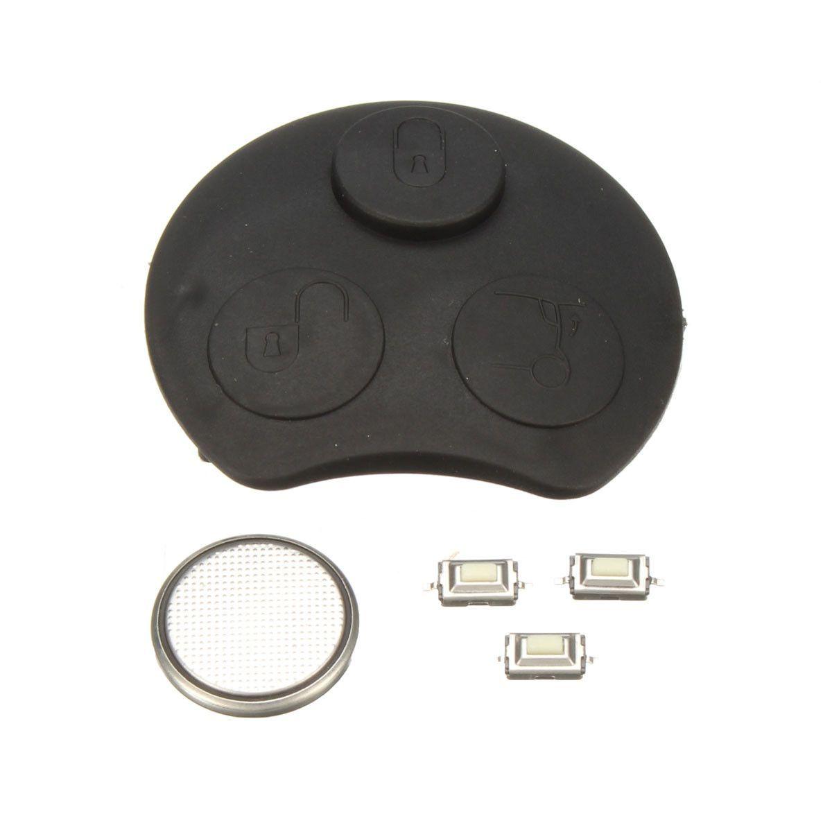 3 Button Car Remote Key Fob Case Repair Kit Rubber Gasket Battery