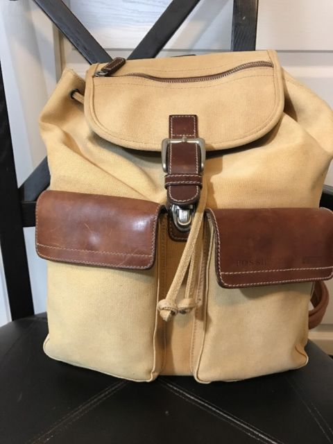 5b1fcbedba Fossil Khaki Tan Canvas Leather Expedition Company backpack 10552  Drawstring