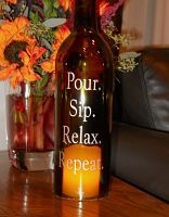 Wine Bottle Hurricane Lamps Candle Holders for Gifts, Wedding Centerpieces & Home Decor