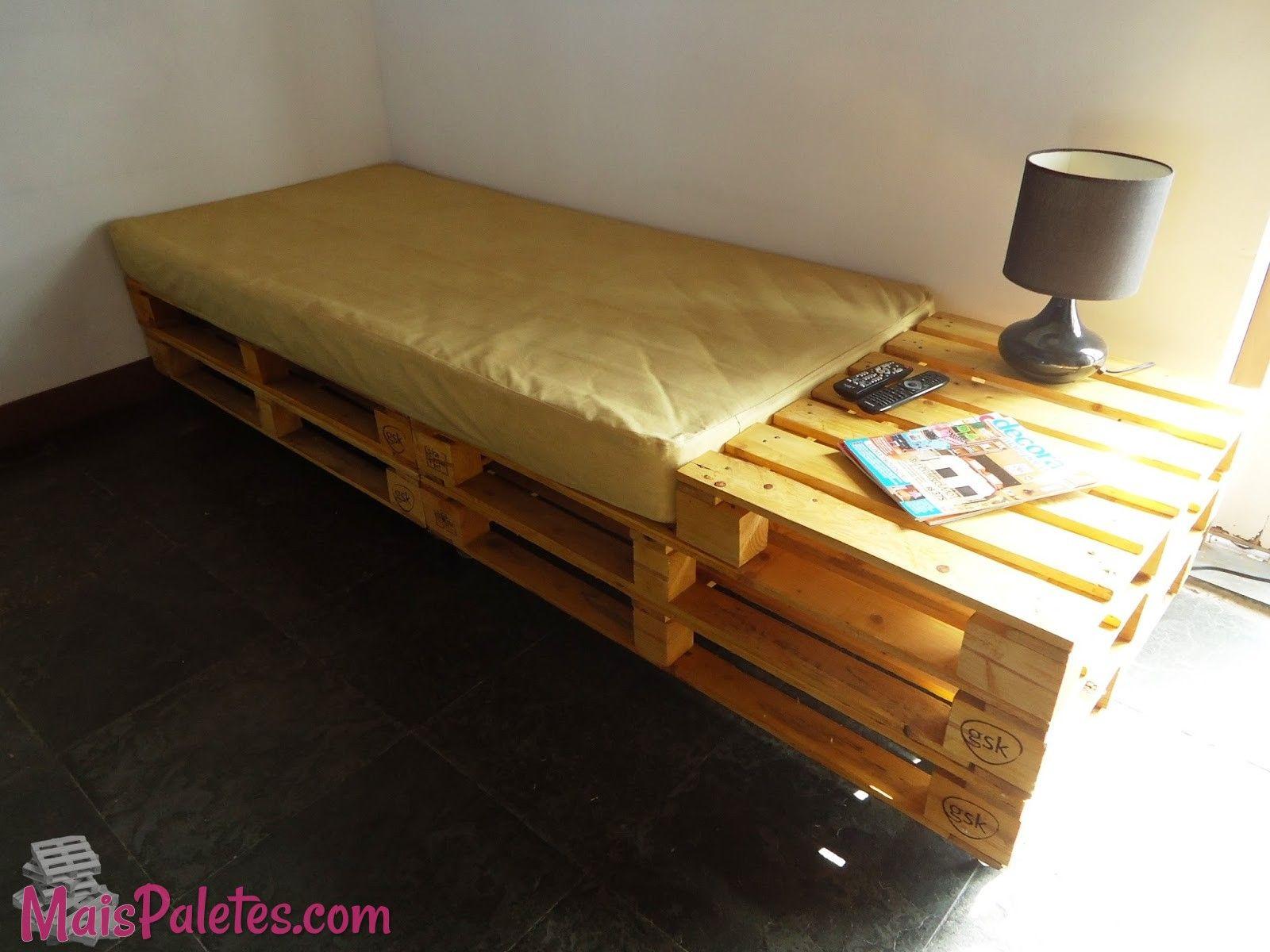 Cama De Solteiro Feita Com Paletes De Madeira Pallets  # Fotos De Muebles Feos