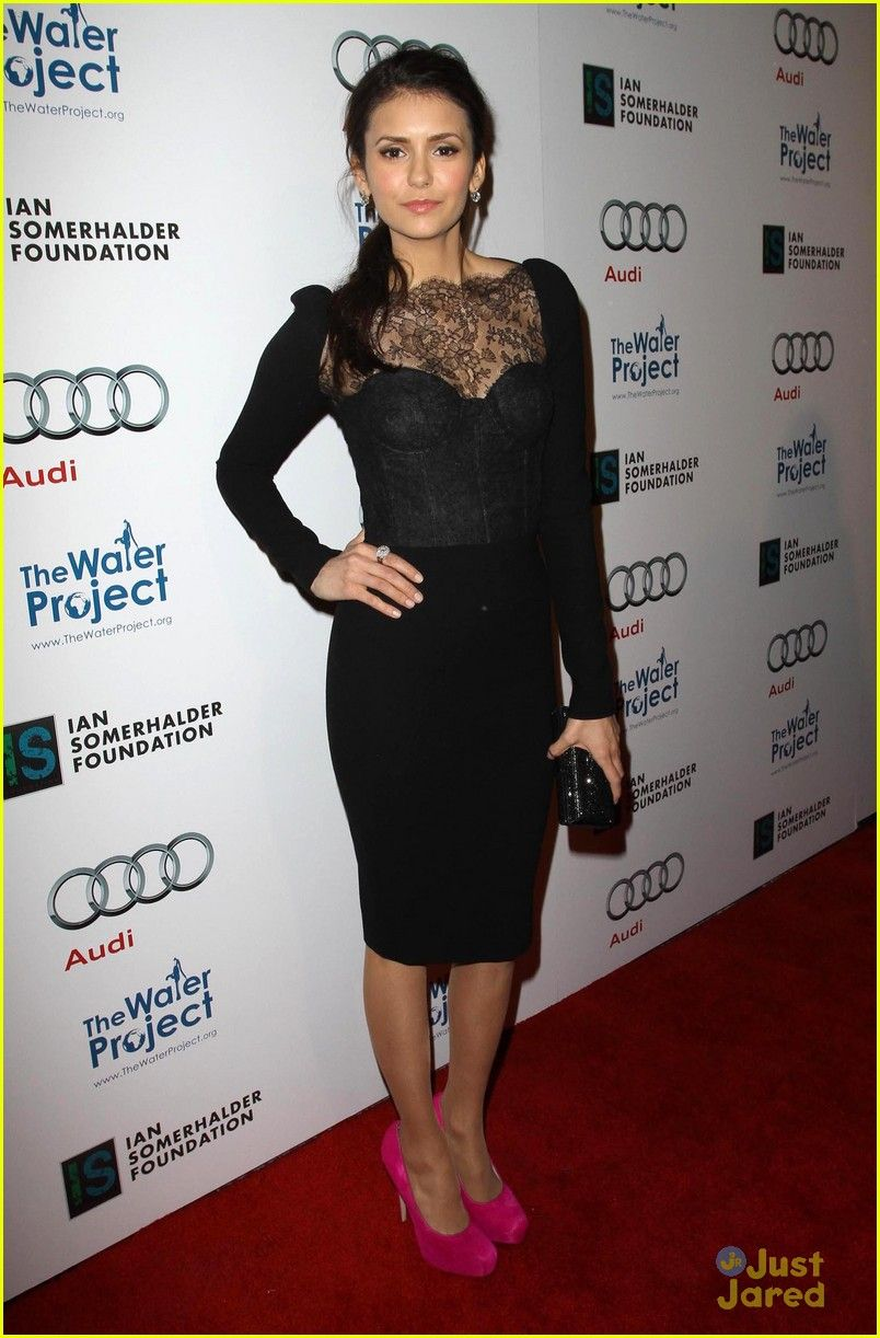 I M On The Right Track I Have A Black Clutch And Pink Bangle And Pumps Black Lace Dress Yes Copied Outfit Before E Nina Dobrev Fashion Black Lace Dress [ 1222 x 804 Pixel ]