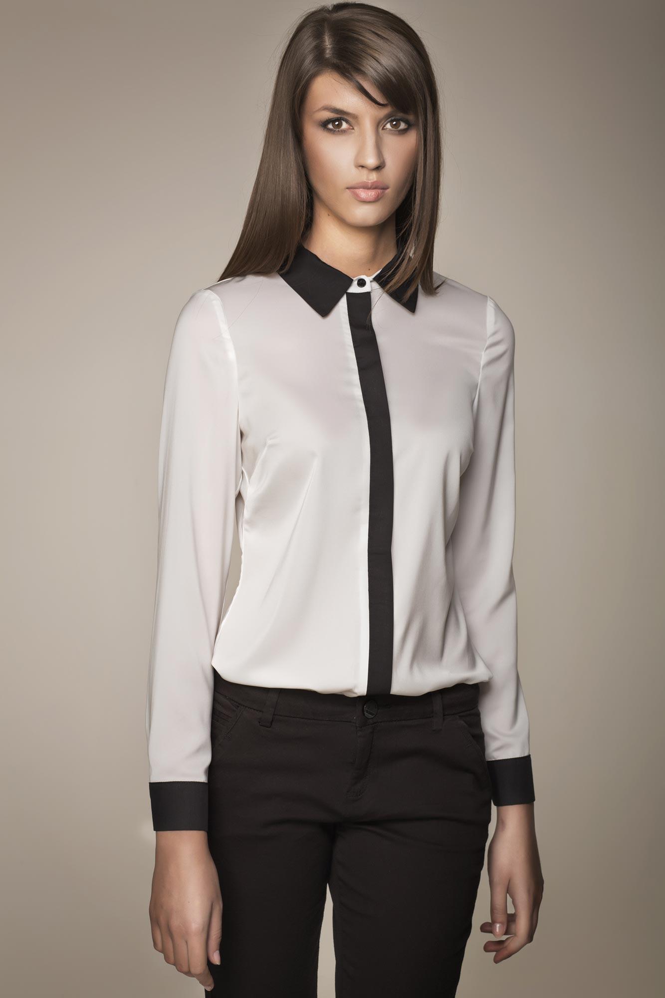 Le Style Classique Chic Chemisier Blanc Avec Boutonnage Sous Patte Noire Les Conseils Mode