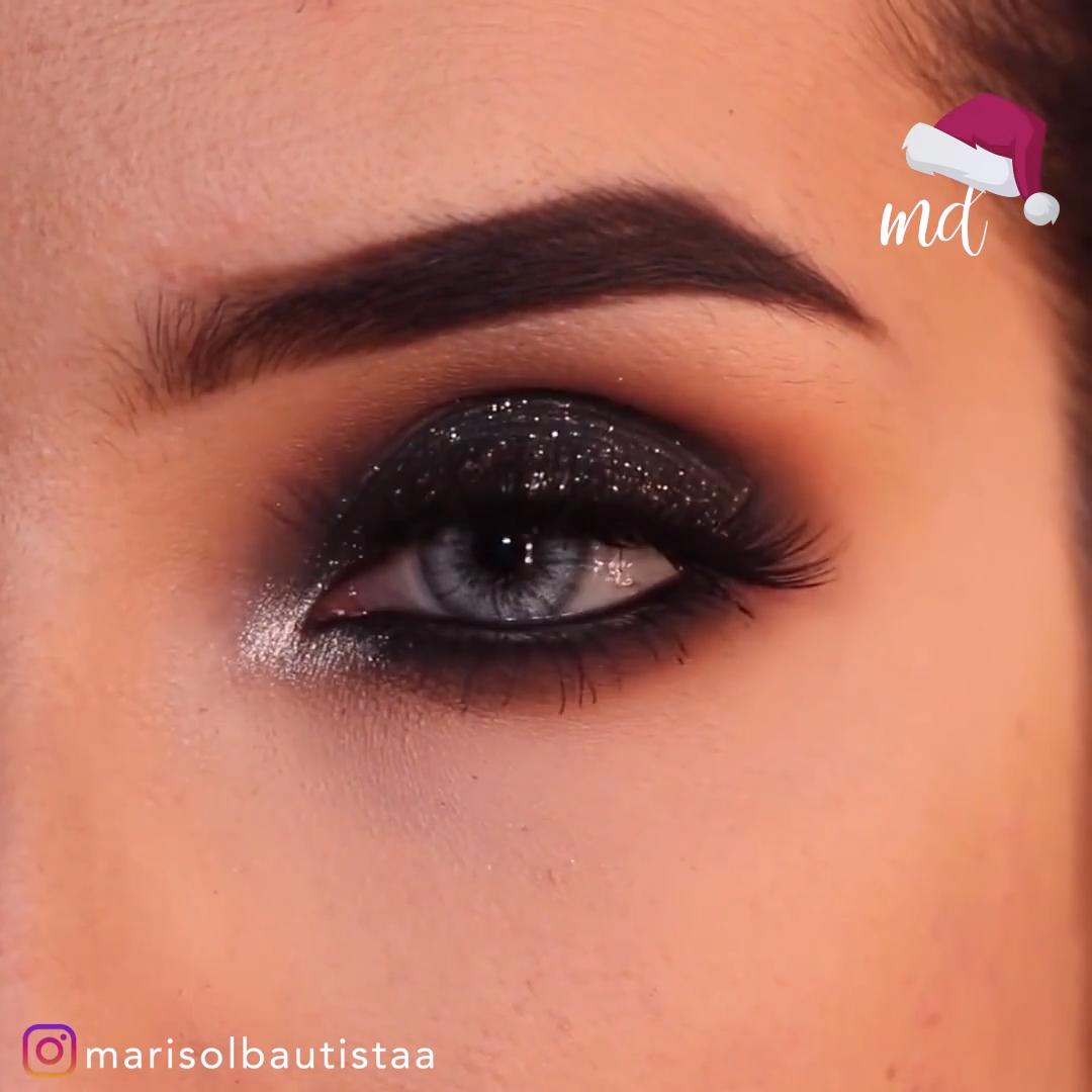 Black Glittery Smokey Eye Makeup Tutorial -   -