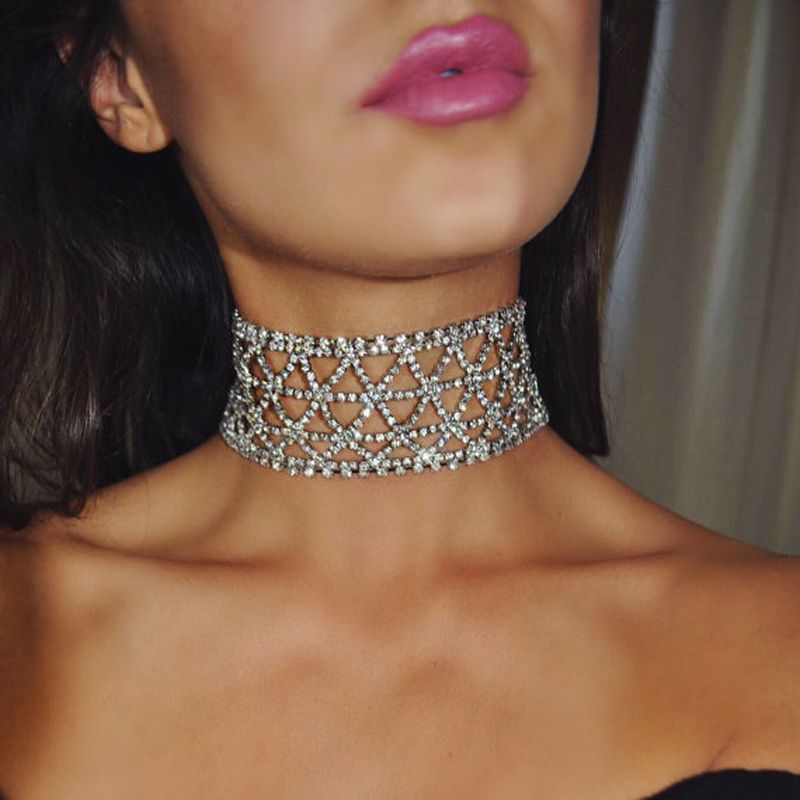 NEW 2017 Wedding Party Rhinestone Crystal Choker Chain Necklace for Women  Choker Necklace Collar Wedding Gift  Affiliate b56f3d239ae3