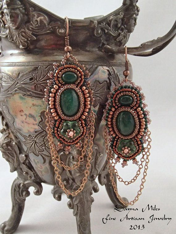 Copper Green Bead Embroidery Earrings with by DaynaMilesDesigns
